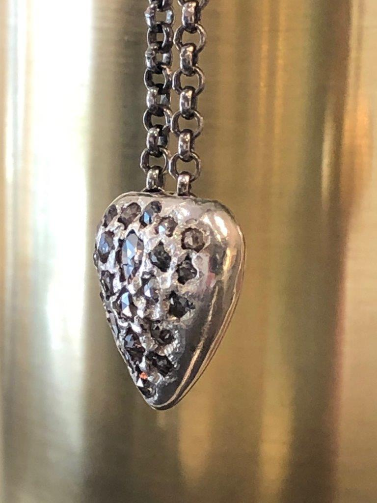 Rosa Maria Diamond Cluster Heart shaped Silver Pendant and Chain