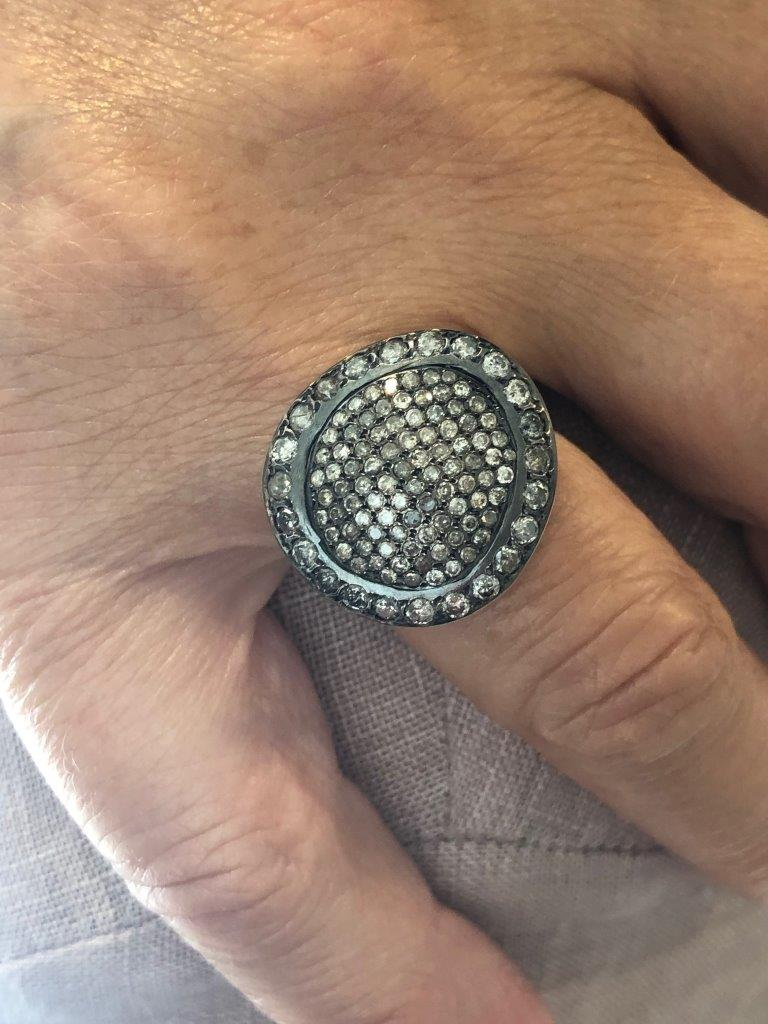 Rosa Maria Julia Ring with Icy Grey Diamonds